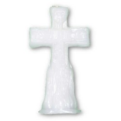 Cross Figure Candle, White 4 1/2""