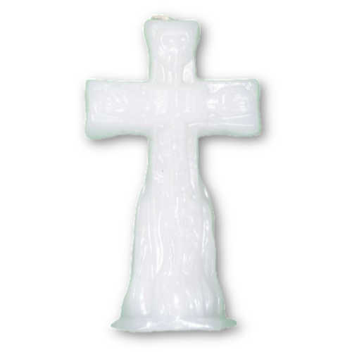"""Cross Figure Candle, White 4 1/2"""""""