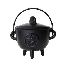 "Cauldron - 5"" Cast Iron Cauldron w/ Lid Pentagram"