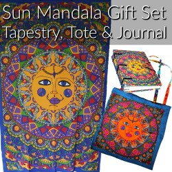 Sun Gift Set Tapestry, Tote Bag & Parchment Journal