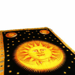 "Sun King in gold, red, black Tapestry 72"" x 108"""