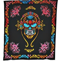 "Skull & Flowers on Black Handloomed Cotton Tapestry 84"" x 96"""