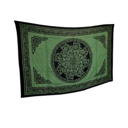 "Ancient Celtic Knot Tapestry Green & Black 72"" x 108"""
