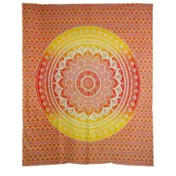 "Ombre Red Orange Mandala Tapestry 84"" x 96"""