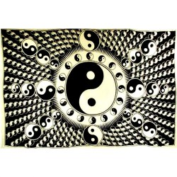 "Yin Yang Black & White Tapestry 72"" x 108"""