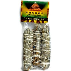 Ceremonial Mountain Sage, Cedar, and Sweetgrass Smudge Sticks 3 Pack 4""