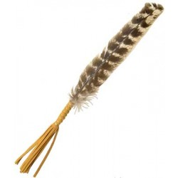 """Leather Wrapped Smudging Feather 10"""""""