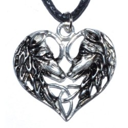 Wolf Lovers Heart Amulet