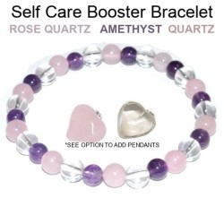Self Care Booster Bracelet 6mm Rose Quartz, Amethyst, Quartz