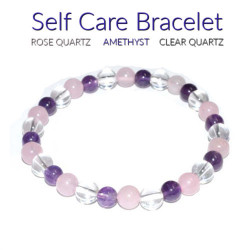 Self Care Bracelet 6mm Rose Quartz, Amethyst, Quartz
