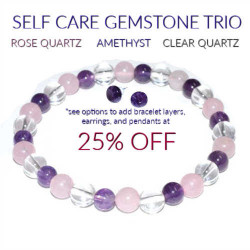 Self Care Gemstone Trio Bracelet 6mm Rose Quartz, Amethyst, Quartz