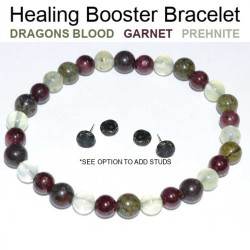 Healing Booster Bracelet 6mm Dragon's Blood Jasper, Garnet, Prehnite