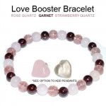 Love Booster Bracelet 6mm Rose Quartz, Garnet, Strawberry Quartz