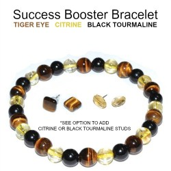 Success Booster Bracelet Tiger Eye,Citrine, Black Touramline 6mm