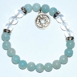 Amazonite & Quartz Bracelet with Ching Coin