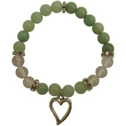 Amazonite & Quartz Bracelet w/ Heart Charm 8mm