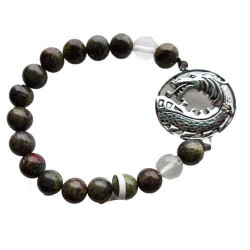 Bloodstone Bracelet w/ Dragon 8mm