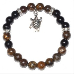 Bronzite & Rainbow Obsidian Bracelet with Turtle