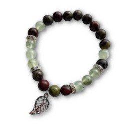 Bloodstone & Prehnite Bracelet with Leaf Charm