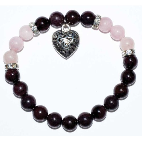 Garnet & Rose Quartz Bracelet with Heart Charm