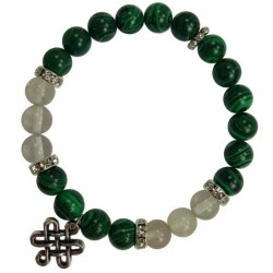 Malachite & Quartz 8mm Bracelet with Celtic Knot