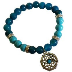 Blue Onyx/ Blue Turquoise Dream Catcher Bracelet