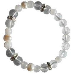 Quartz & Rainbow Moonstone Pearl 8mm Bracelet