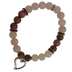 Rose Quartz & Rodhonite Bracelet with Heart