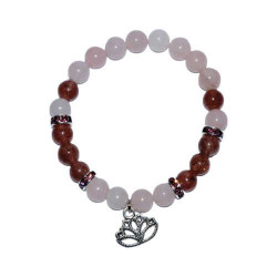 Rose Quartz & Strawberry Quartz Bracelet with Lotus