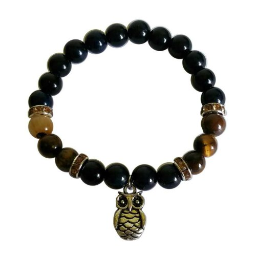 Blue & Yellow Tiger Eye Bracelet with Owl