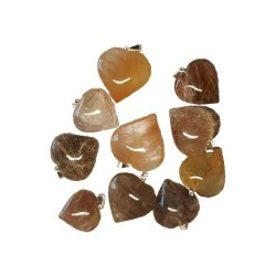 Rutilated Quartz Heart Pendant 1""