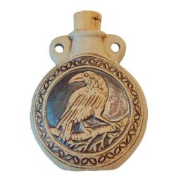 Raven Raku Oil Bottle Pendant