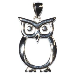 Owl Sterling Silver Pendant 7/8""