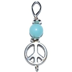 Peace Sign Pendant with Amazonite Bead