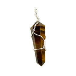 Wire Wrapped Tiger Eye Double Terminated Point Pendant 1 5/8""