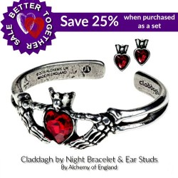 Claddagh By Night Gothic Love Bracelet & Stud Earrings by Alchemy of England