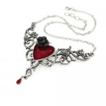 Blood Rose Heart Pendant by Alchemy of England, Sworovski crystals