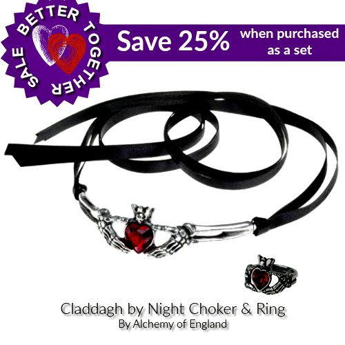 Claddagh By Night Choker & Ring by Alchhemy of England