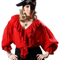 Barbarossa Women's Pirate Blouse in Red or Black