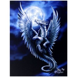Canvas Art Print - Anne Stokes Silver Dragon