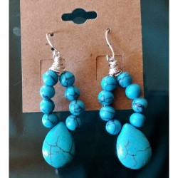 2 Crones Earrings - Handmade Turquoise Loops