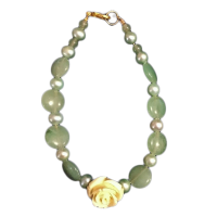 2 Crones Green Aventurine bracelet with Rose