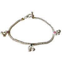 Ankle Bracelet - Silver Toned with Bells, Circles & Arches