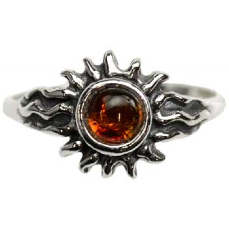 Radiant Sun Sterling Silver & Amber Ring