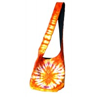 "Orange Tie Dye Zip Sholder Bag 12"" x 14"""