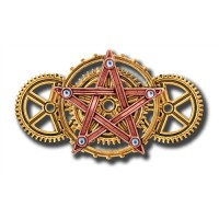 Anne Stokes Engineerium Range - Penta Meridia Brooch for Balance & Development