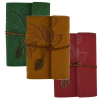 "Blank Book - 5"" x 7.25"" Leather Leaf Embossed Journal 