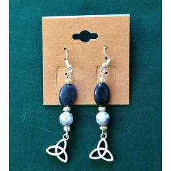 2 Crones Lapis Earrings with Triquetra Charm