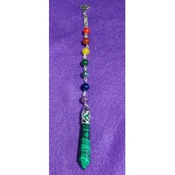 Malachite Pendulum with Chakra Beads