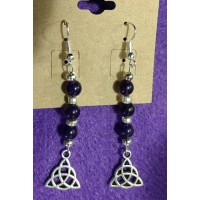 2 Crones Crafts Amethyst Earrings with Triquetra
